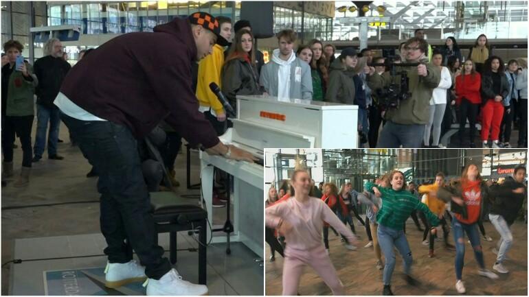 ال DJ أفروجاك يقدم حفلة مفاجئة بمحطة Rotterdam Central عصر اليوم