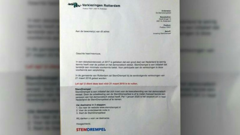 اعتقال طالب من روتردام لارساله خطاب انتخابي مزيف للسكان
