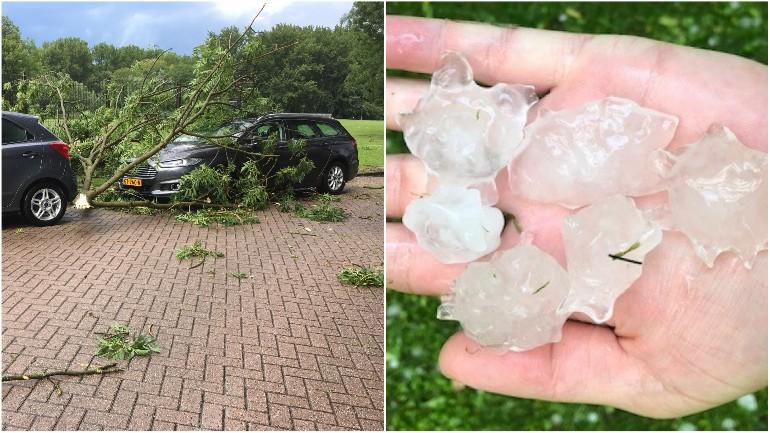 أمطار و عواصف رعدية شديدة وتساقط حجارة البرد الضخمة في أغلب أنحاء هولندا