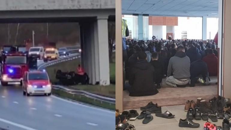 حشود كبيرة في مسجد الفتح في بيرخن أوب زوم لصلاة الجنازة على شابين توفيا بحادث خطير